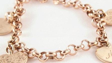 gold bracelet heart charms