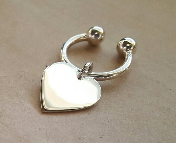 heart key ring silver