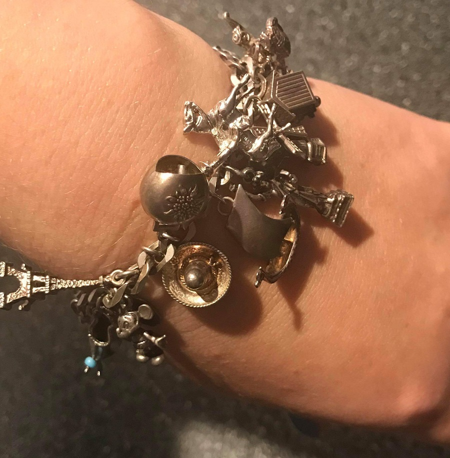 travel charm bracelet silver
