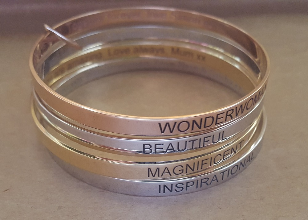 laser engraved gold and silver bangles australia