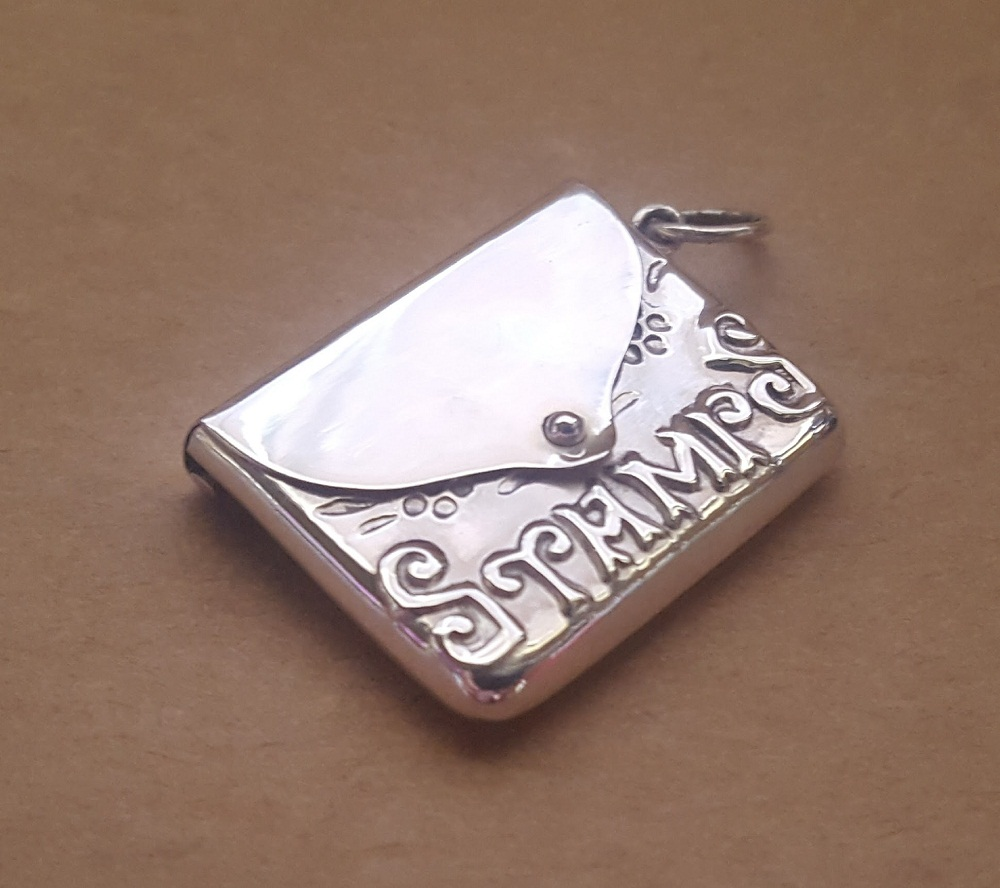 stamp envelope locket silver