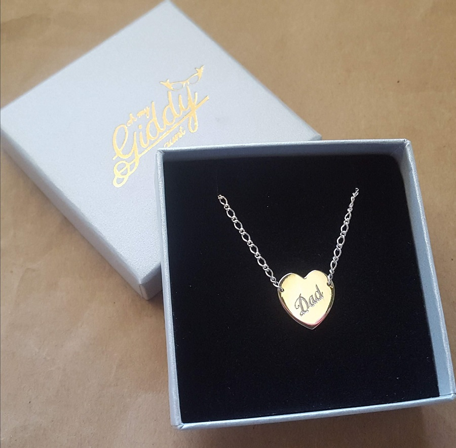 engraved heart pendant dad