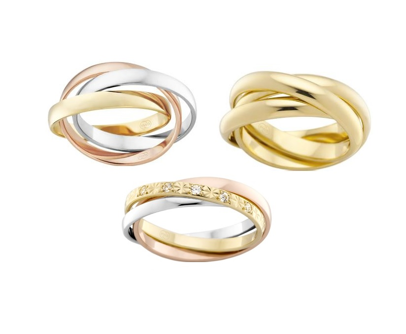3 band russian rings gold