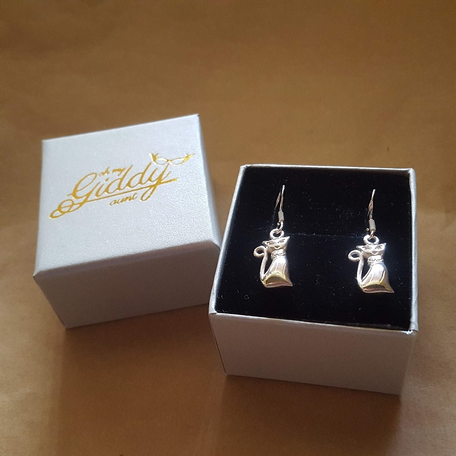 sleek cat earrings silver