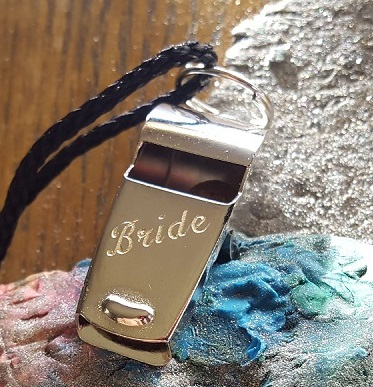 personalised whistle for bride