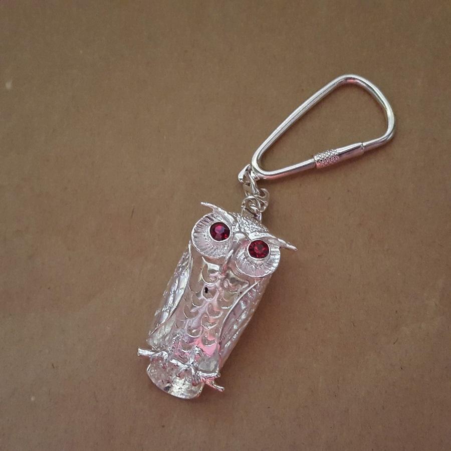 owl keyring silver