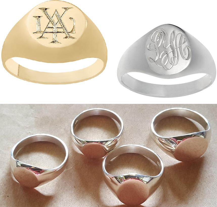 gold and silver monogram signet rings