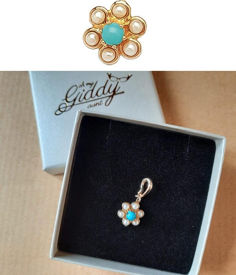Turquoise seed pearl pendant
