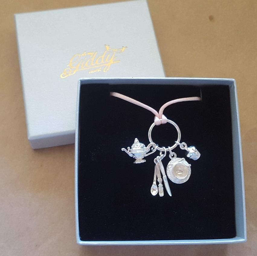 tea pot and cupcake necklace