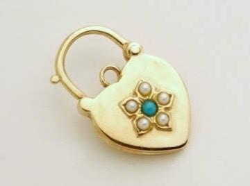 Turquoise seed pearl padlock