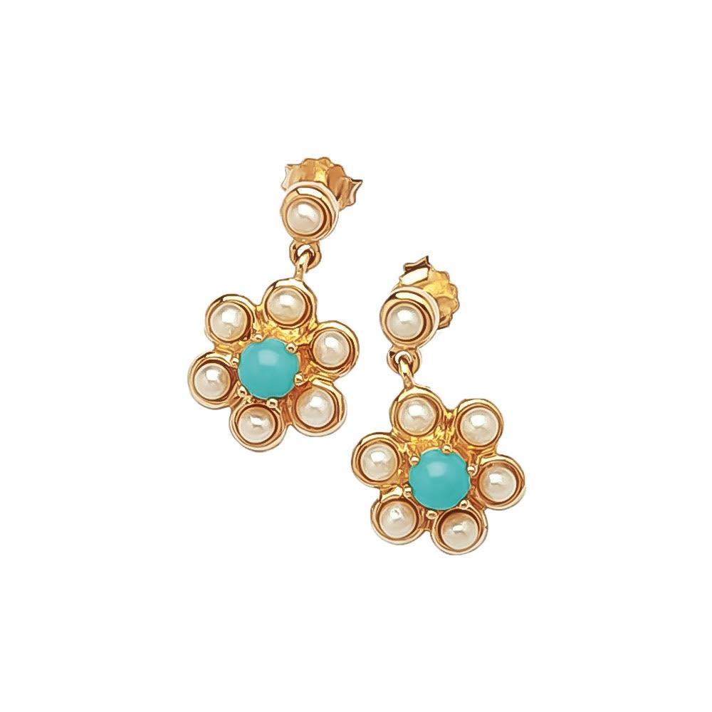 Turquoise seed pearl earrings
