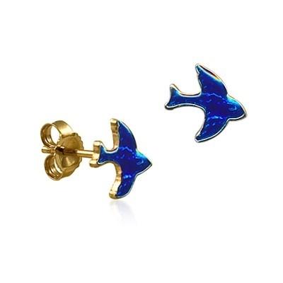 gold bluebird earrings